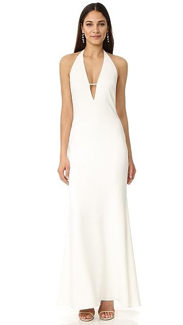 Badgley Mischka Collection Plunge V Neck Dress