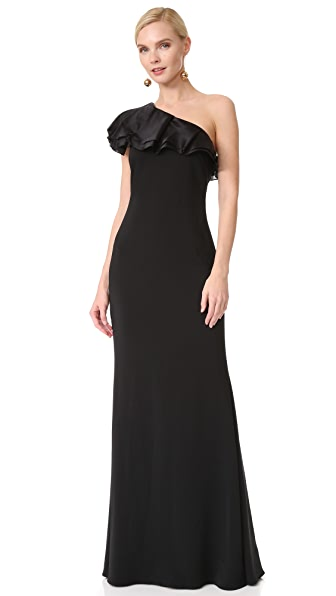 Badgley Mischka Collection One Shoulder Ruffle Gown - Black