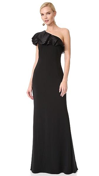 Badgley Mischka Collection One Shoulder Ruffle Gown - Black