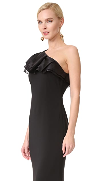 Badgley Mischka Collection One Shoulder Ruffle Gown