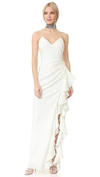 Badgley Mischka Collection Вечернее платье с V-образным вырезом с оборками