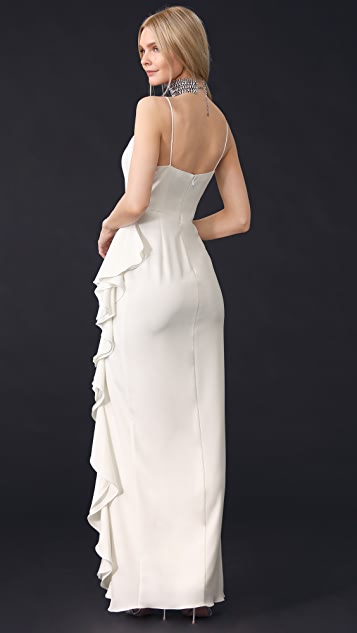 Badgley Mischka Collection V Neck Ruffle Gown