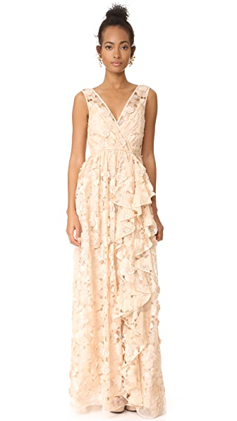 Badgley Mischka Collection Cutout Organza Ruffle V Neck Gown