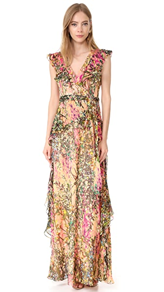 Badgley Mischka Collection V Neck Ruffle Printed Gown