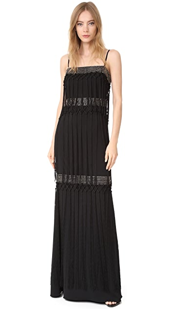 Badgley Mischka Collection Fringe Tiered Gown