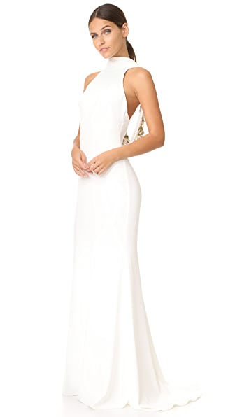 Badgley Mischka Collection Loop Back Gown - Light Ivory