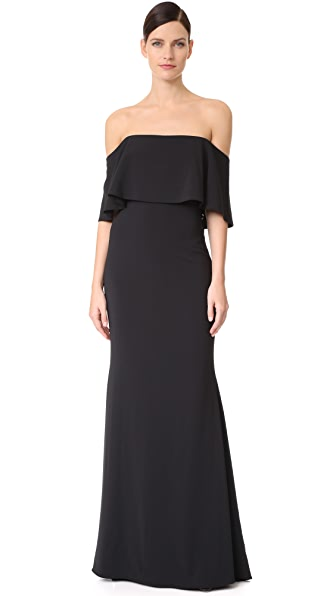 Badgley Mischka Collection Ribbon Laces Cape Gown - Black