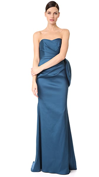 Badgley Mischka Collection Bow Back Micado Gown - Marine
