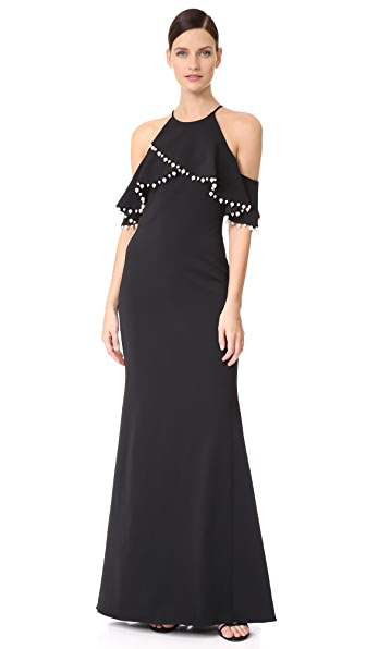 Badgley Mischka Collection Imitation Pearl Trim Gown - Black