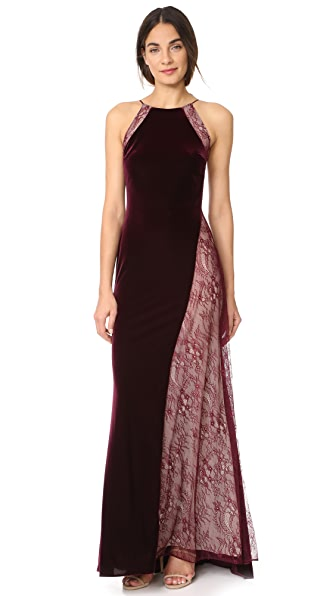 Badgley Mischka Collection Velour Gown at Shopbop