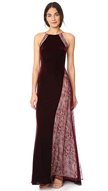 Badgley Mischka Collection Velour Gown