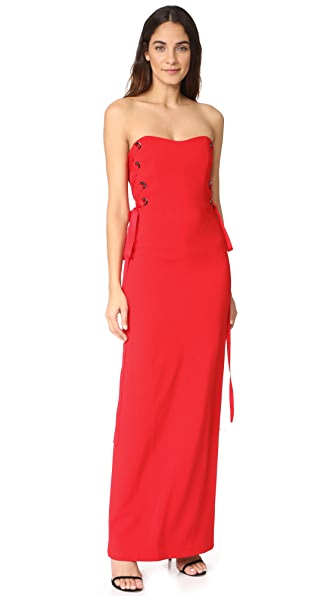 Badgley Mischka Collection Strapless Lace Up Gown at Shopbop