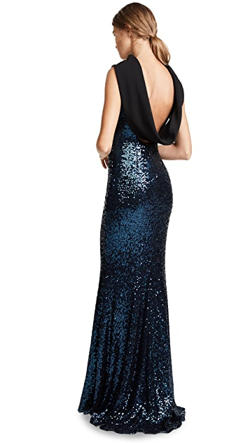 Badgley Mischka Collection Sequin Cowl Loop Back Gown