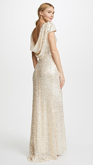 Badgley Mischka Collection Cap Sleeve Cowl Back Gown
