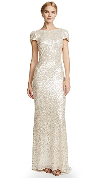 Badgley Mischka Collection Cap Sleeve Cowl Back Gown In Champagne