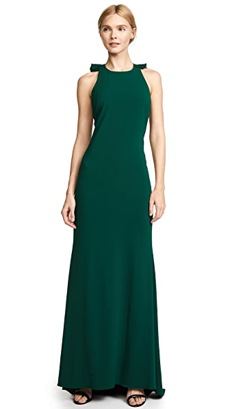 Badgley Mischka Collection Ruffle Back Gown In Emerald
