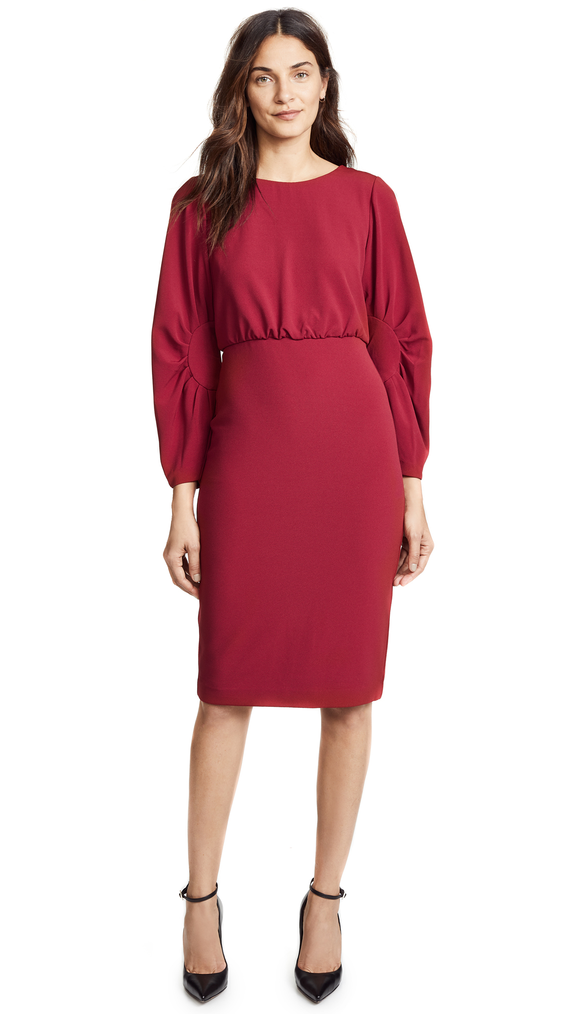 Badgley Mischka Collection Crew Neck Dress - Ruby