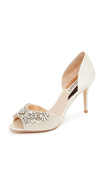 Badgley Mischka Candance Peep Toe Pumps - Ivory at Shopbop