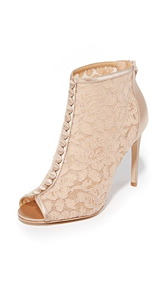 Badgley Mischka Nerina Lace Open Toe Booties - Latte