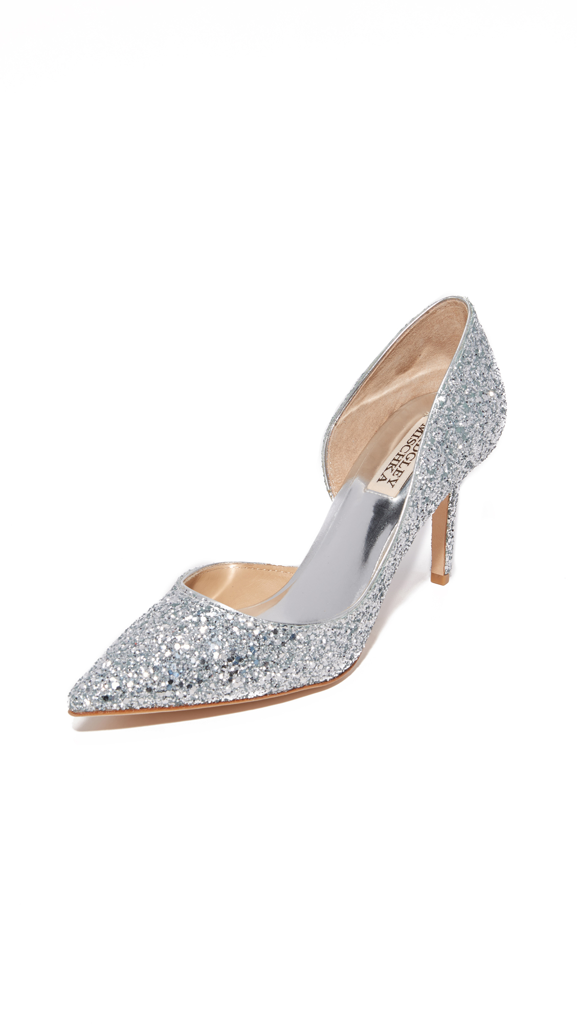 Badgley Mischka Daisy Glitter Pumps - Silver