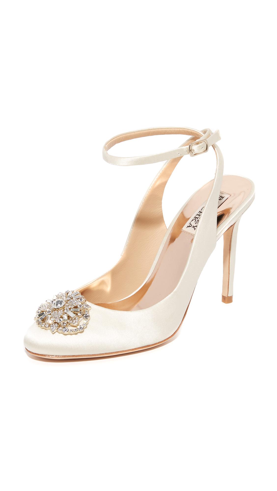 badgley mischka female 233680 badgley mischka darwyn ankle strap pumps ivory