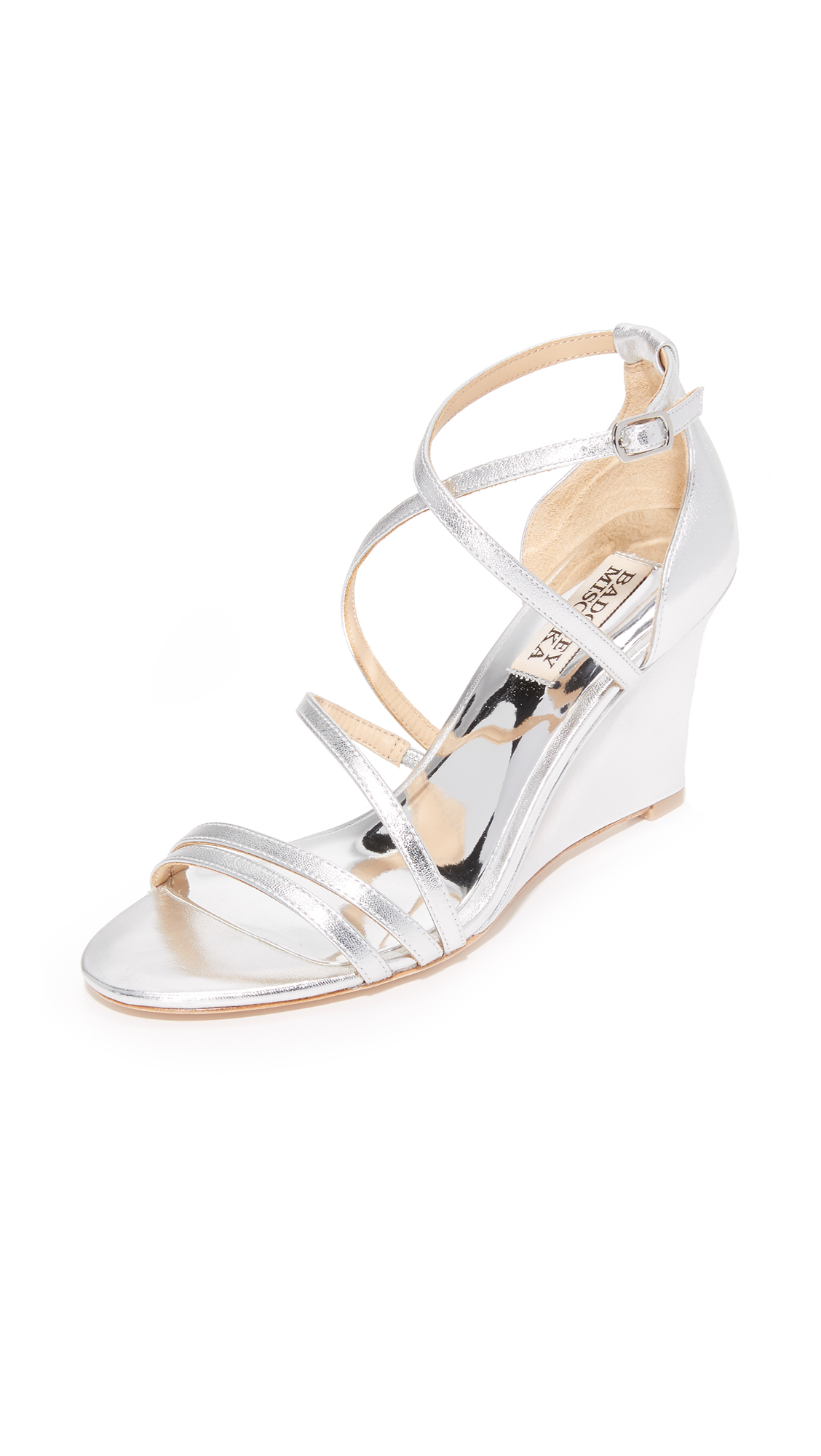badgley mischka female badgley mischka bonanza wedges silver