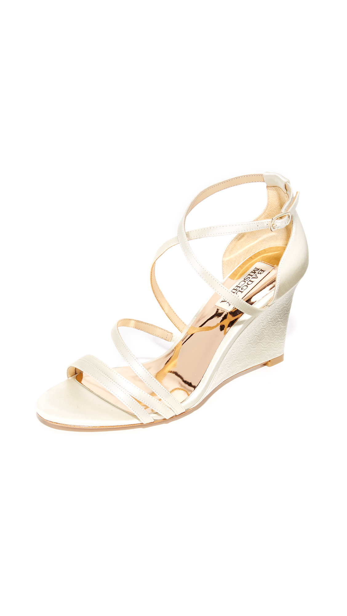 badgley mischka female badgley mischka bonanza wedge sandals ivory