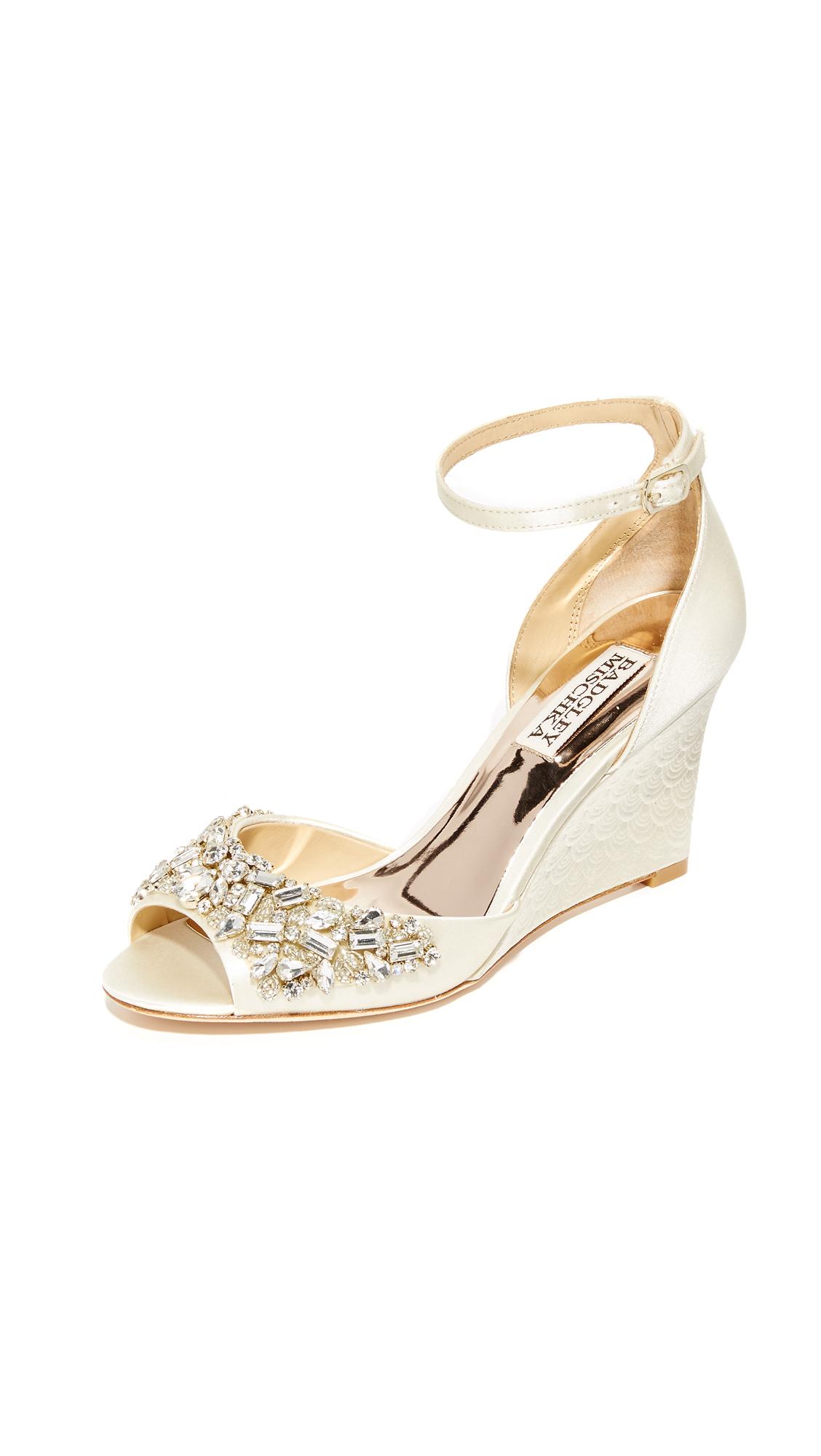 Photo of Badgley Mischka Barbara Wedge Sandals Ivory - Badgley Mischka online