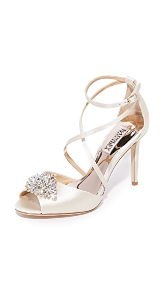 Badgley Mischka Tatum Peep Toe Sandals - Ivory