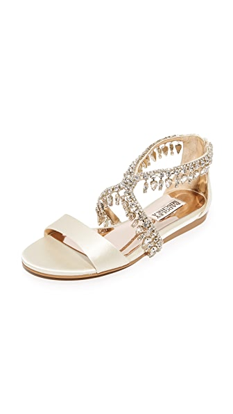 Badgley Mischka Tristen Embellished Sandals - Ivory