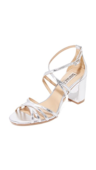 Badgley Mischka Tilden Block Heel Sandals - Silver
