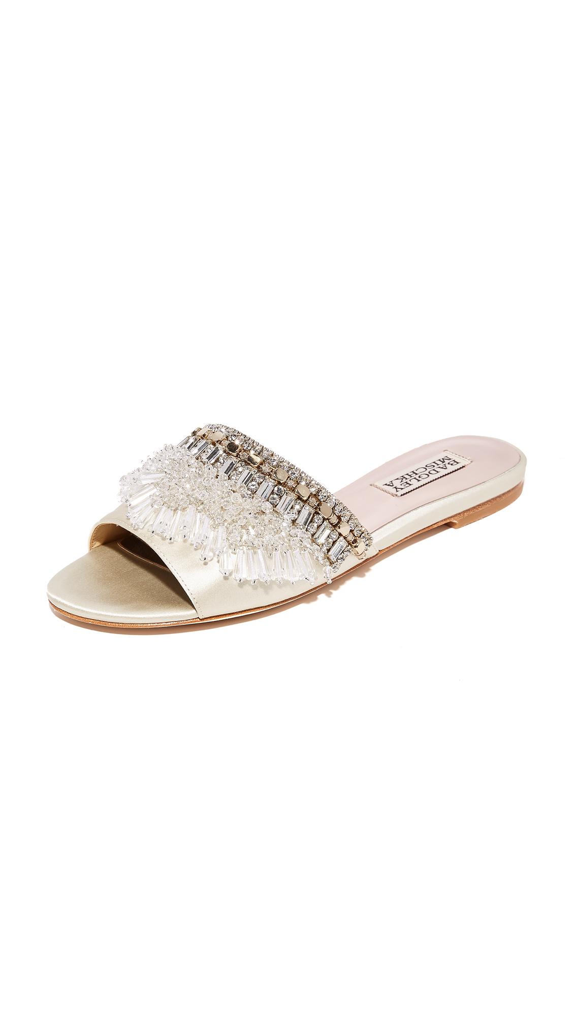 Badgley Mischka Kassandra Embellished Slides - Ivory
