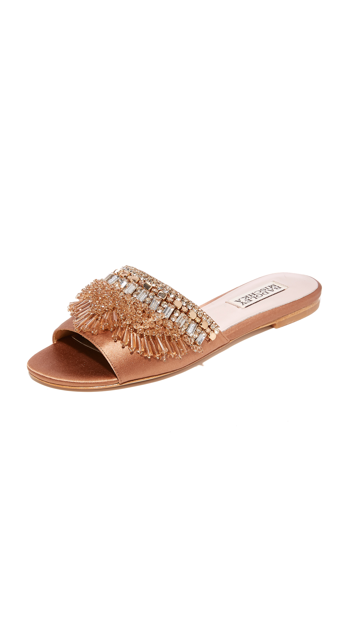 Badgley Mischka Kassandra Embellished Slides - Dark Nude