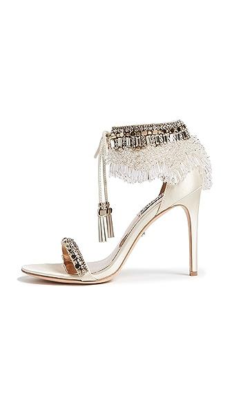 Badgley Mischka Katrina Embellished Sandals In Ivory