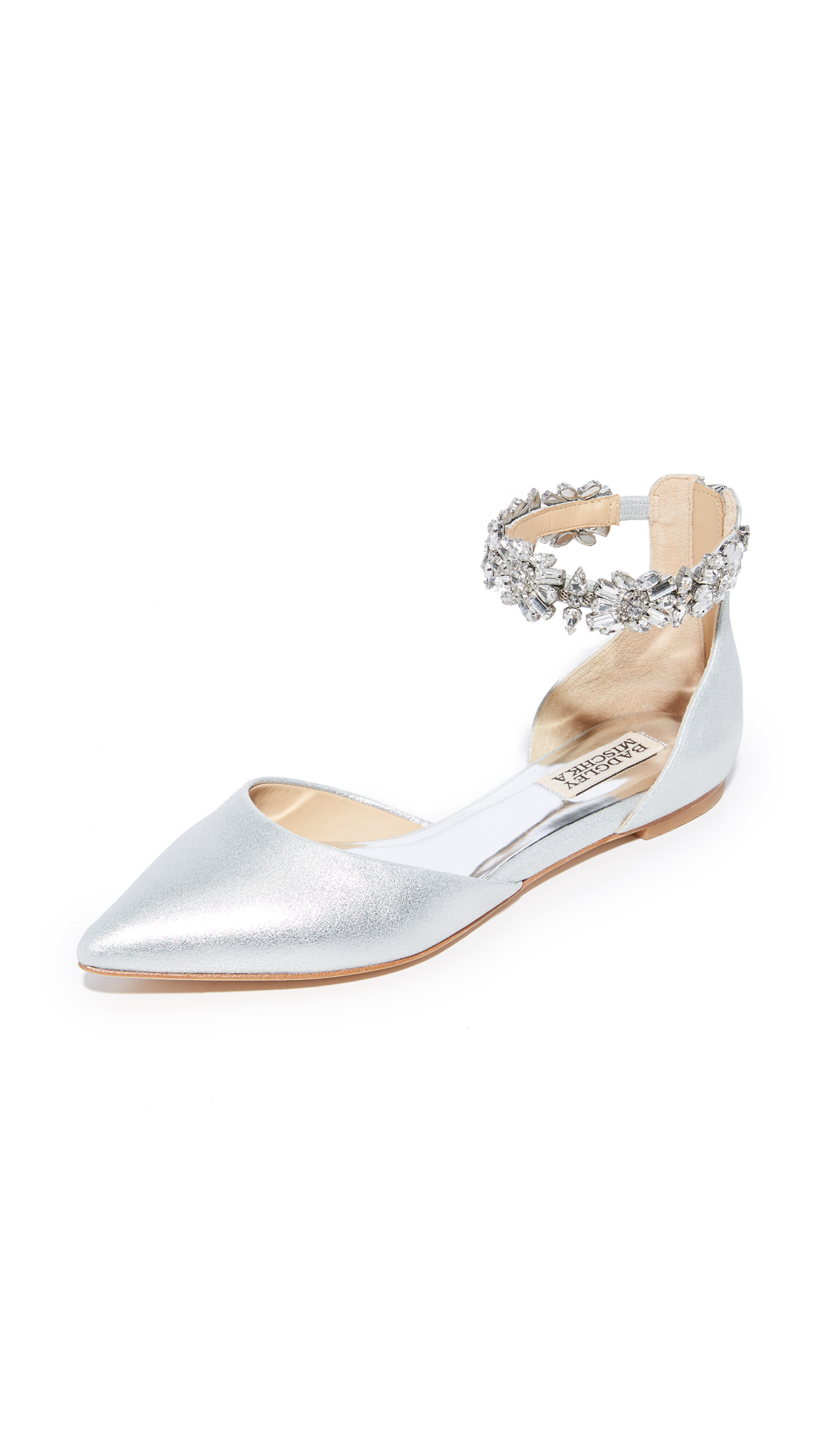 Badgley Mischka Morgen II Ankle Strap Flats - Silver