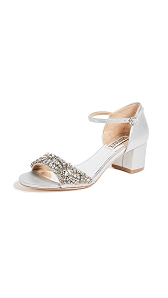 Badgley Mischka Mareva Block Heel Sandals In Silver