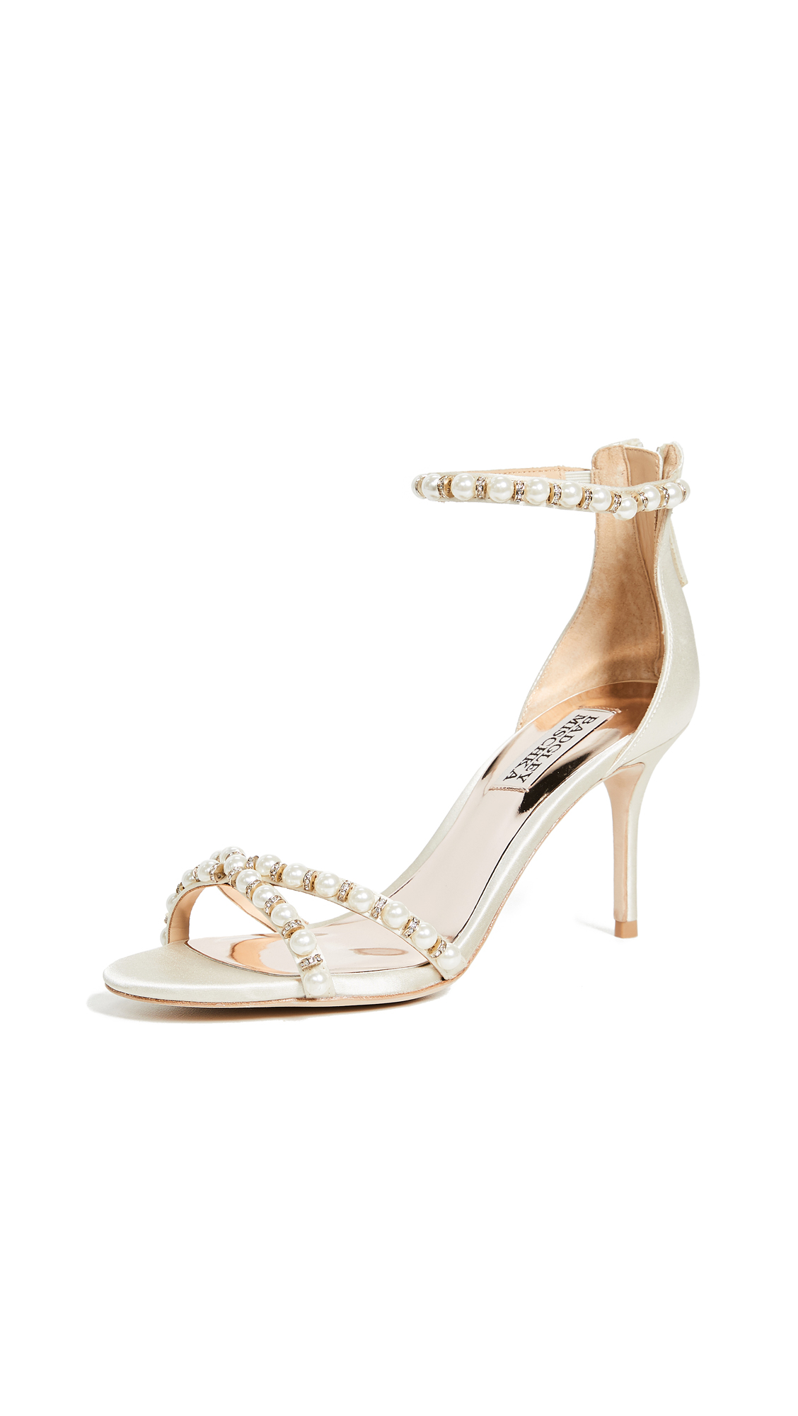 Badgley Mischka Hannah Imitation Pearl Sandals - Ivory
