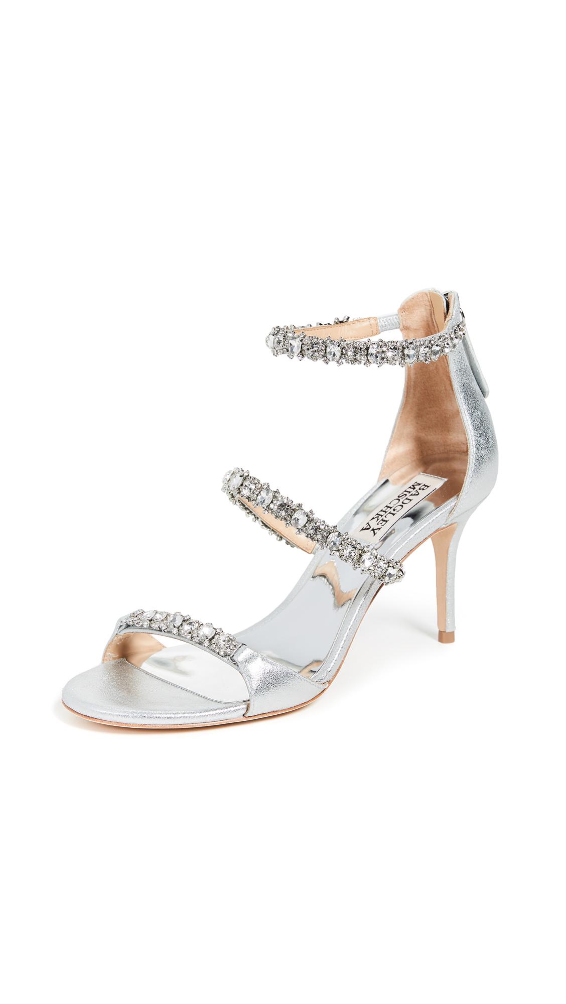 Badgley Mischka Yasmine Ankle Strap Sandals - Silver