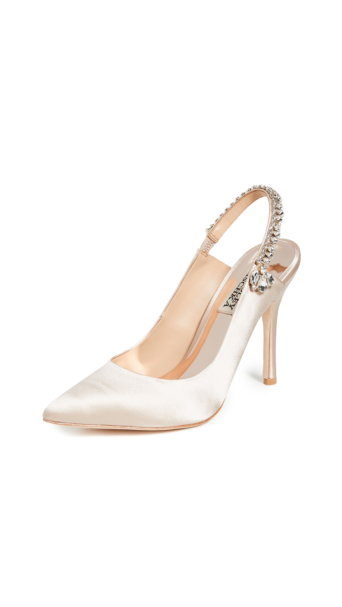 Badgley Mischka Paxton Slingback Pumps with Pointed Toe - Latte