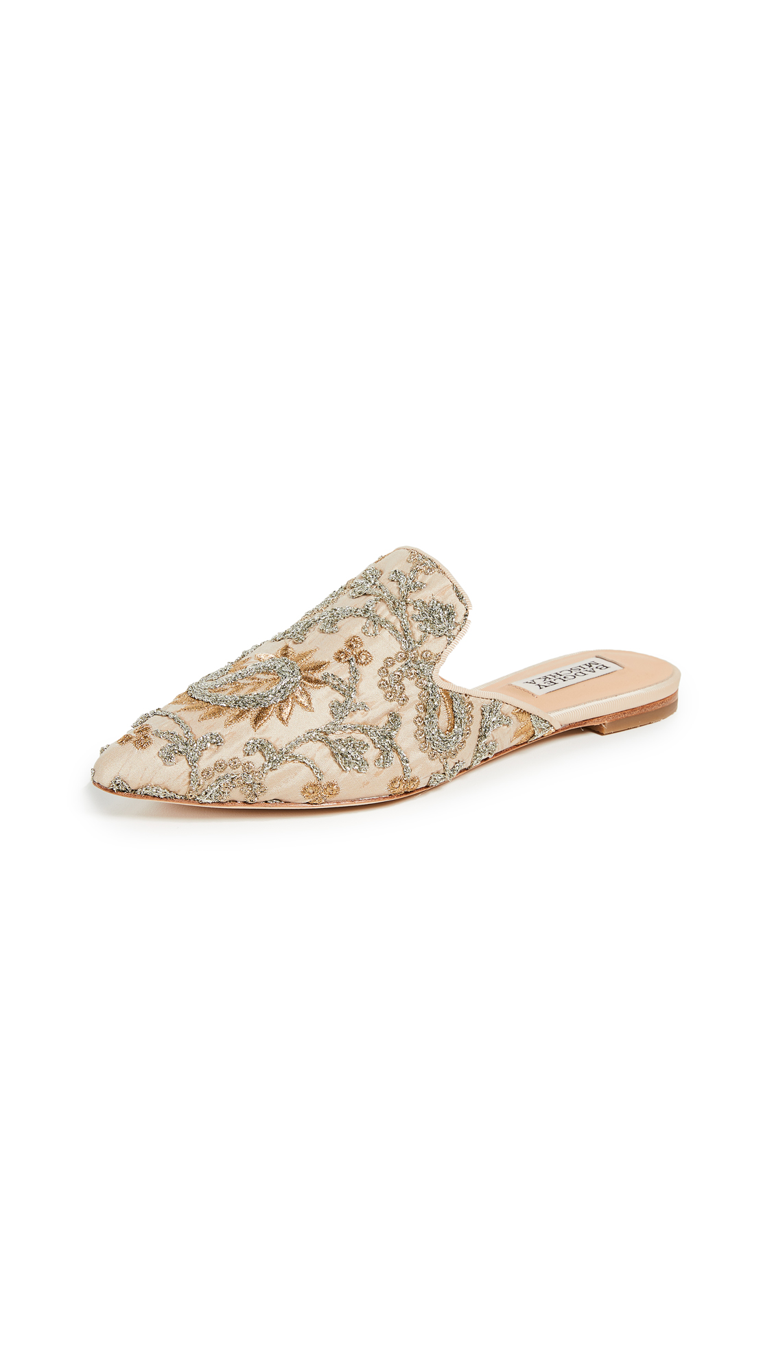 Badgley Mischka Phoebe Point Toe Mules - Platino