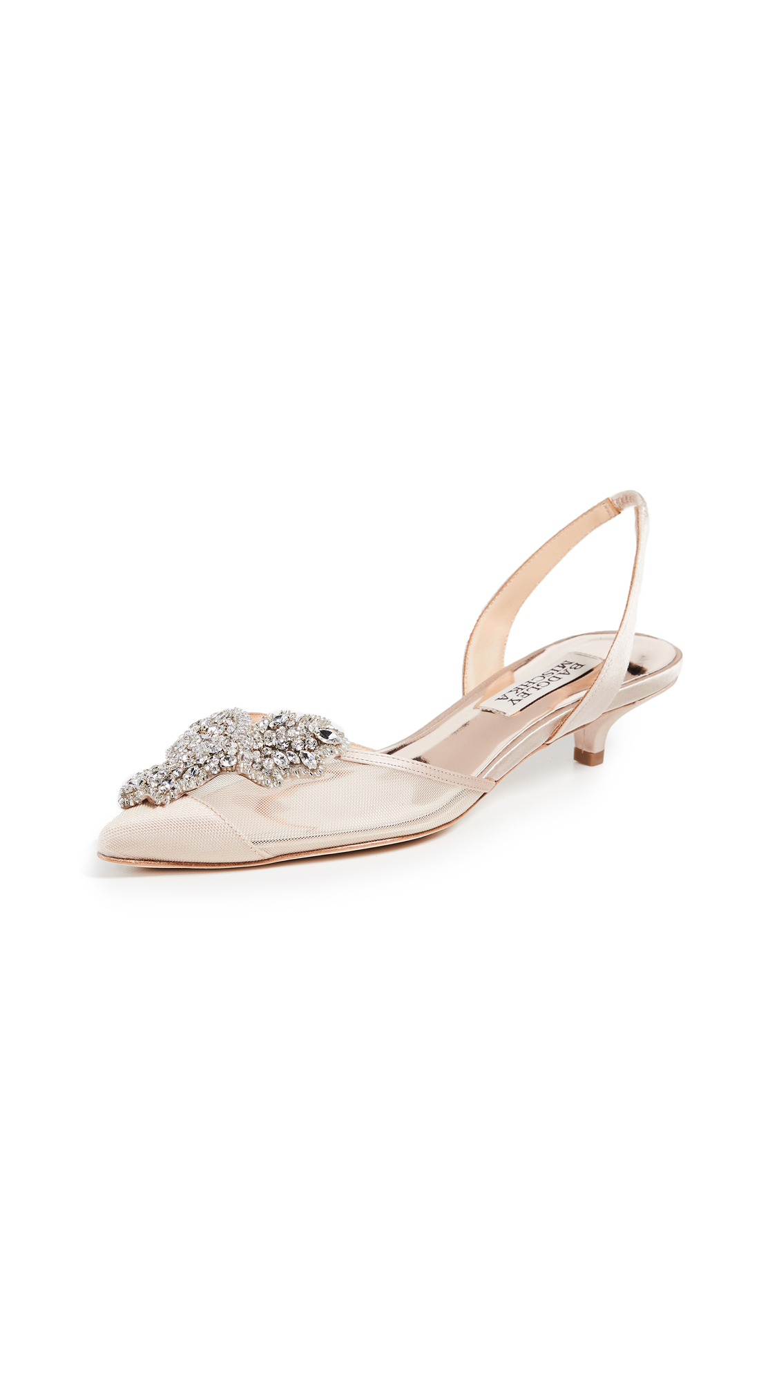 Badgley Mischka Vera Pointed Toe Slingback Pumps - Latte