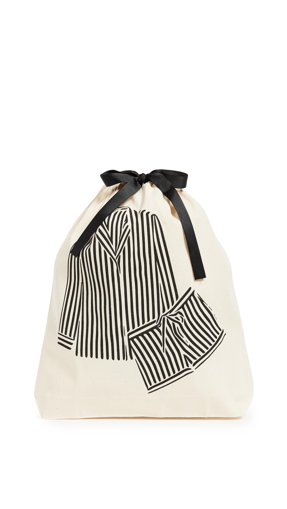 Bag-all Striped Pajamas Organizing Bag - Natural/Black