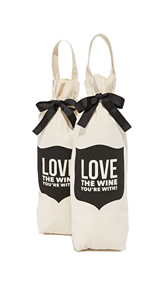 Bag-all Love the Wine You're With Wine Set of 2