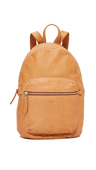 BAGGU Leather Backpack - Saddle