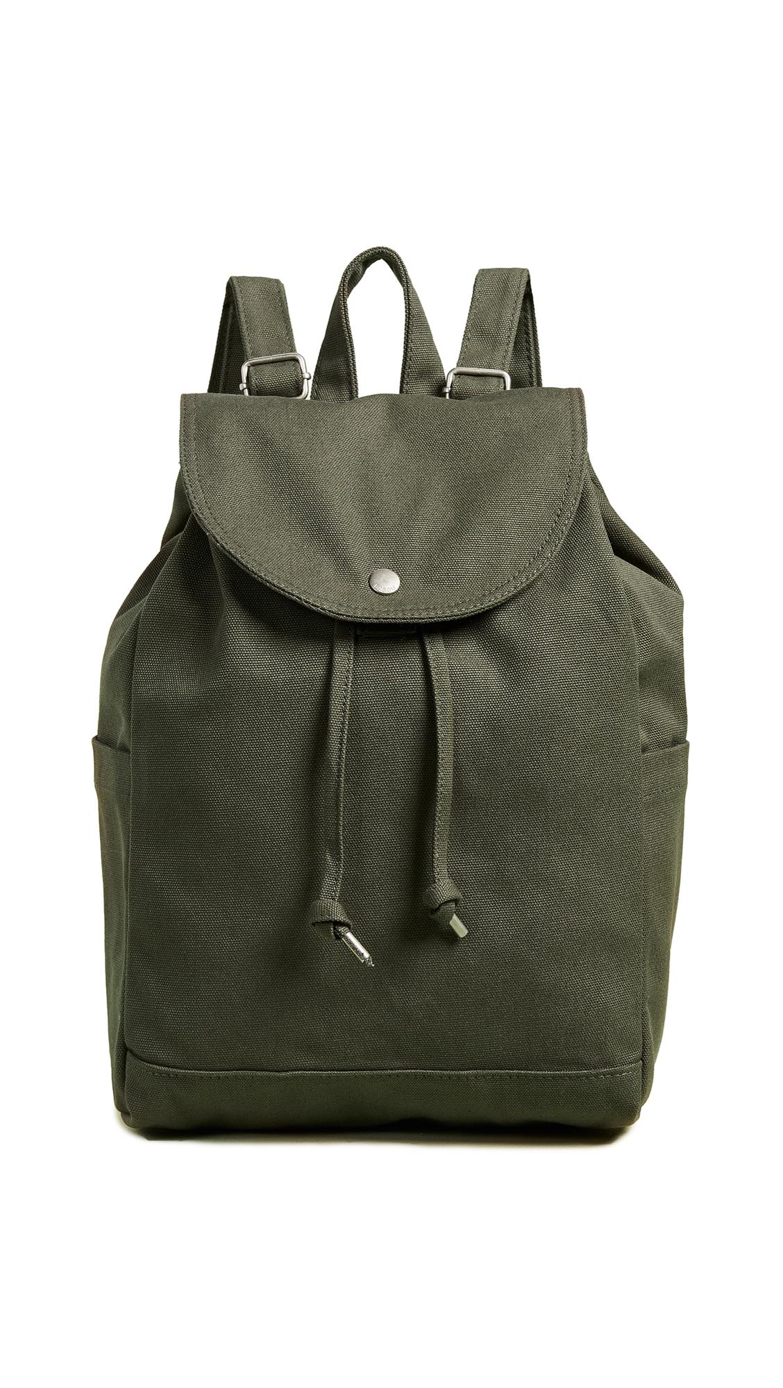 BAGGU Drawstring Backpack in Dark Olive