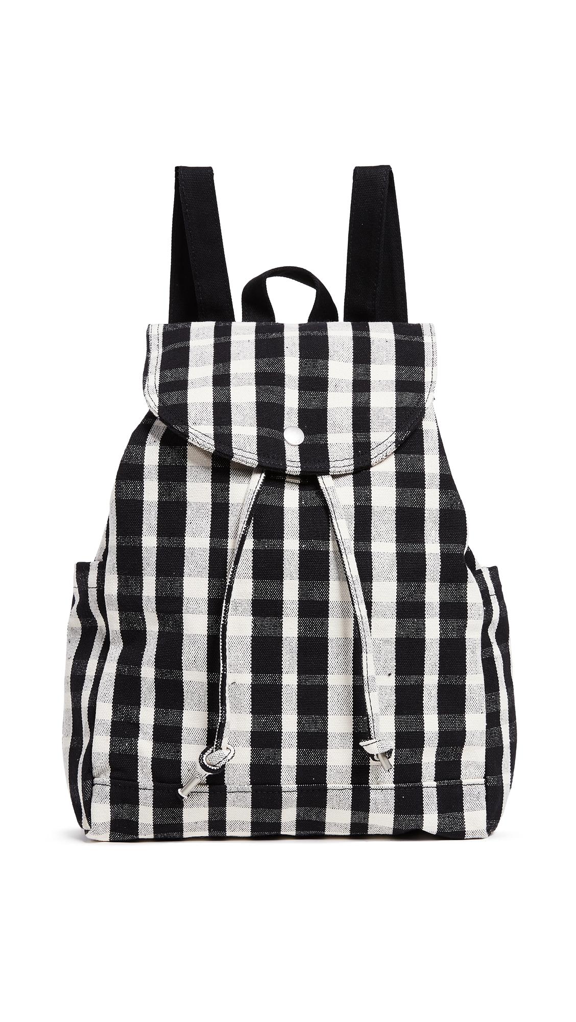 BAGGU Drawstring Backpack in Plaid