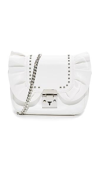 Studio 33 Damn Gina Ruffle Cross Body Bag - White