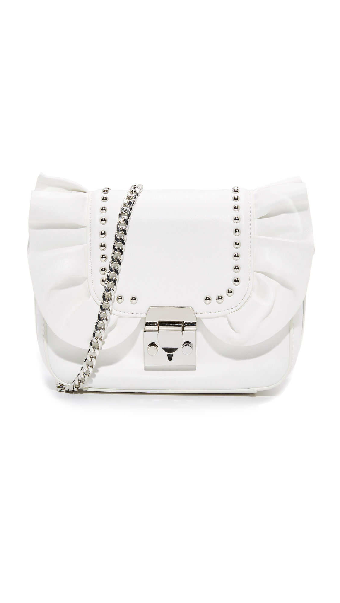 Studio 33 Damn Gina Ruffle Cross Body Bag - White