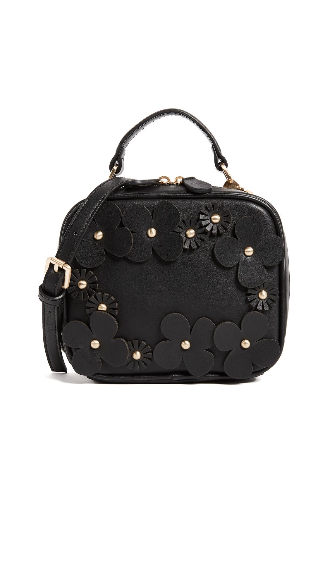 Studio 33 Floral Applique Box Bag - Black