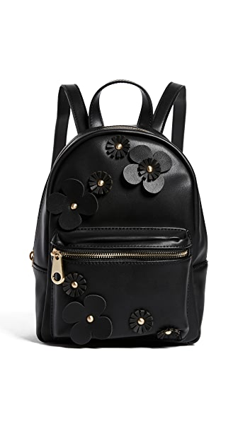 Studio 33 Floral Applique Mini Backpack In Black